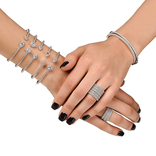 Crush & Fancy Pavè Crystal Bangle Bracelet | 925 Sterling Silver Bangle Bracelet with Crystals | Crystal Bangle with Teardrop Centers | Perfect for Stacking Bangles (CLEO) by Crush & Fancy (Image #4)
