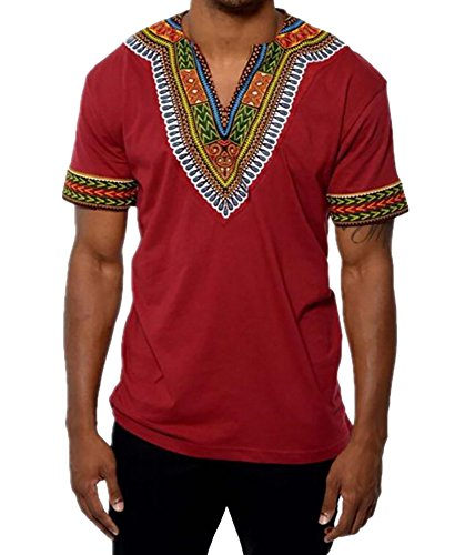 Red Dashiki - Karlywindow Dashiki Africa Short Sleeve T-Shirts V Neck Floral Print Tee Shirts Top