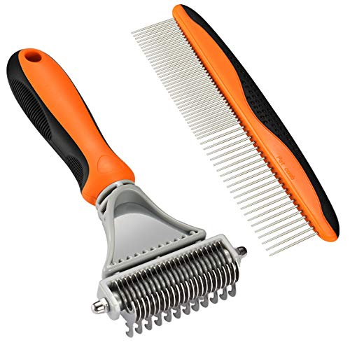 Dematting Undercoat Rake - OMORC Pet Undercoat Rake, 2 Sided Dematting Comb Professional Stainless Steel Grooming Rake Dematting Tool for Dogs, Cats, Horses and Rabbits with Short or Long Hair