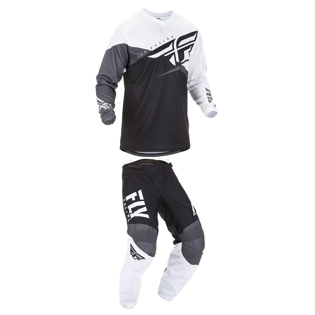 Fly Racing 2019 F-16 Jersey and Pants Combo Black/White/Gray 2X, 42