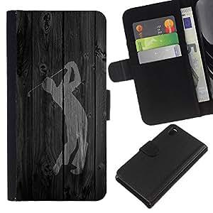 KingStore / Leather Etui en cuir / Sony Xperia Z3 D6603 / Swing de golf Palabra