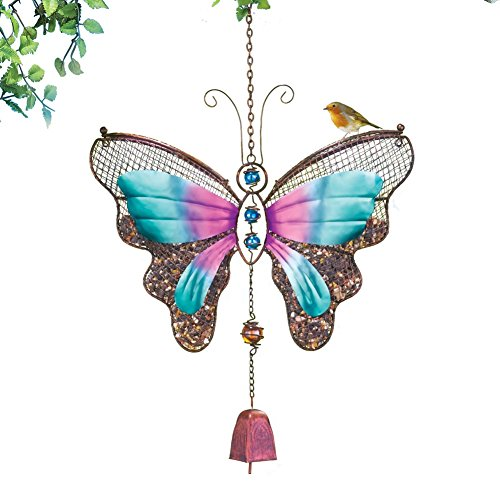 Hanging Mesh Colorful Butterfly Birdfeeder, Brown