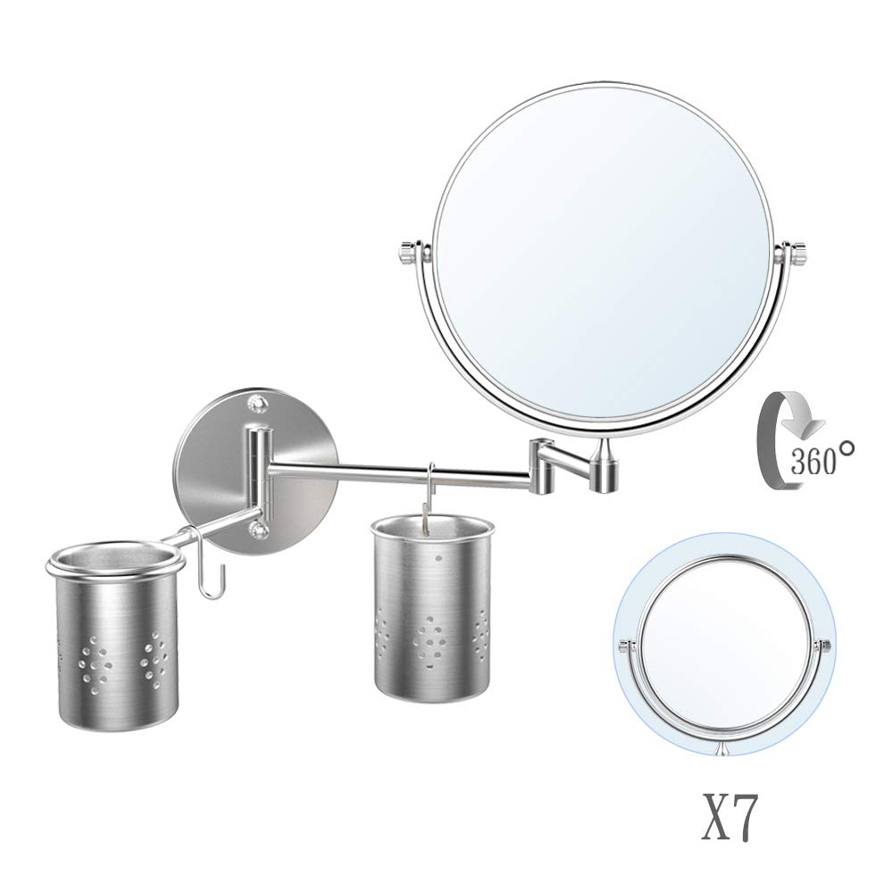ElectriBrite Wall Mounted Makeup Mirror, 8 Inch Double Sided Swivel 7X Magnification Vanity Mirror Round Shaped - Extendable Bathroom Mirror, Shaving in Bedroom, Chrome Finish