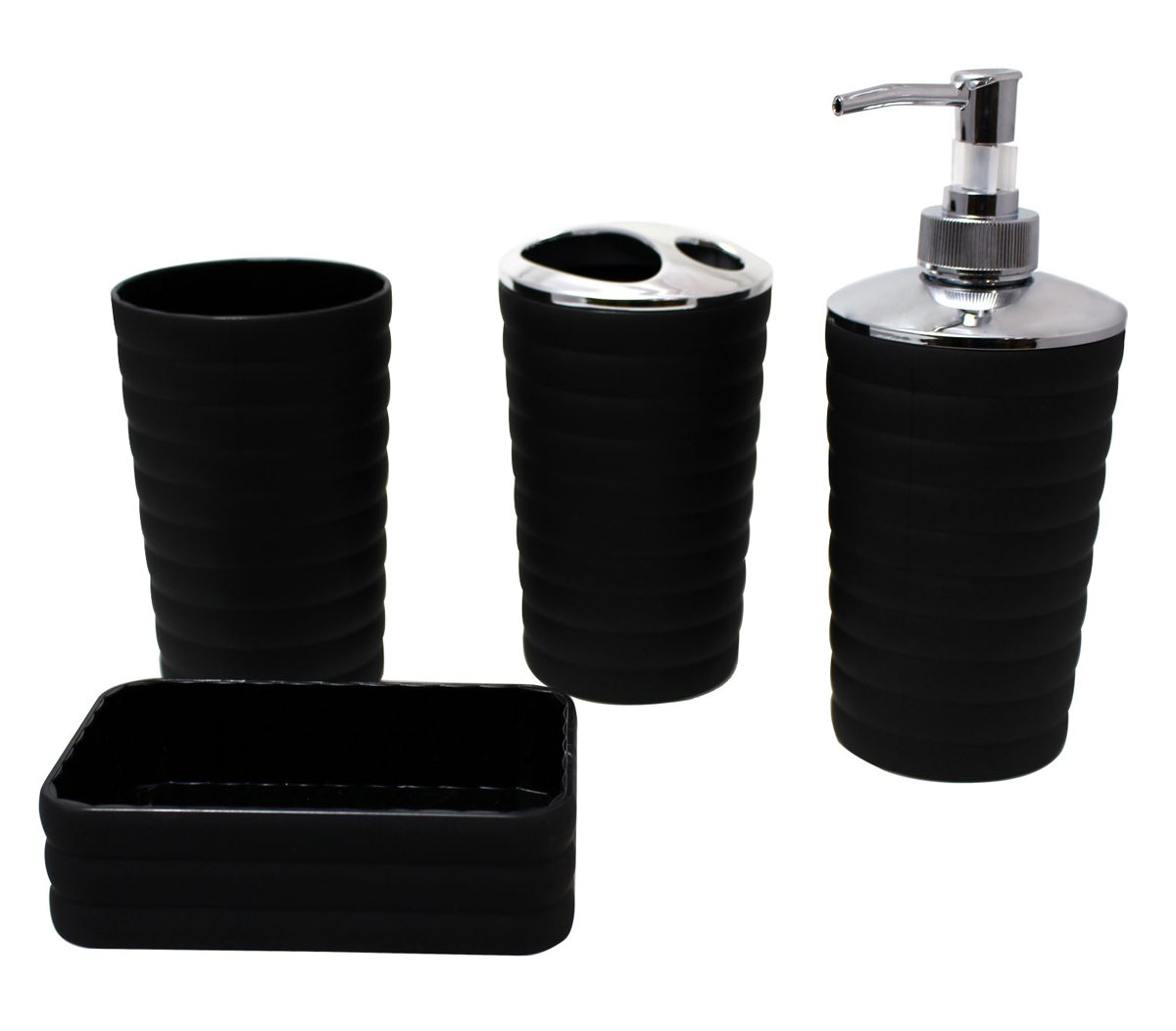 JustNile Minimalist 4-Piece Durable Plastic Black Bathroom Accessory Set, Soap Dish/Soap Dispenser/Tumbler/Toothbrush Holder Included - Four pieces set includes soap dispenser, soap dish, toothbrush holder and cup Simple, stylish, elegant and it's easy to clean Made of Plastic With Rubber finished - bathroom-accessory-sets, bathroom-accessories, bathroom - 51yBK8ZvfSL -