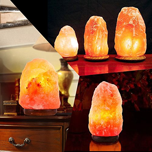 Betus [Natural Crystal] Himalayan Salt Lamp Hand Carved on Wood Base with Dimmable Cord and Light Bulb - 8 to 9 Inches Height, 8 to 11 Pounds