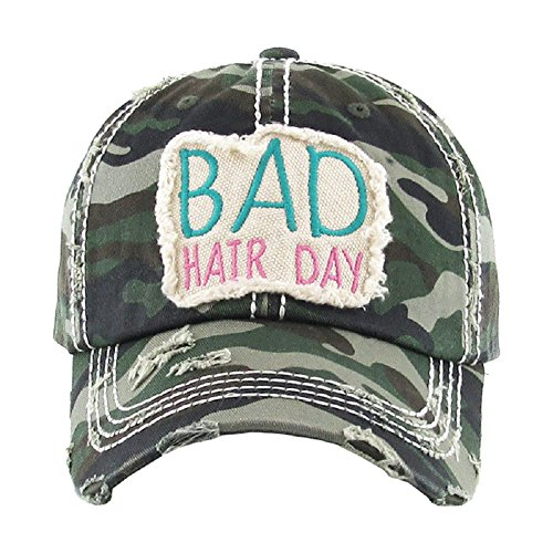 AH Adjustable Bad Hair Day Distressed Look Western Cowgirl Hat Cap (Camo) -
