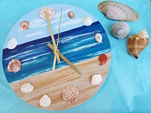 Beach Wall Clock with Seashells