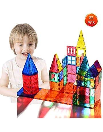 2a2748716e0d Bloques de construcción magnéticos 3D 82 Piezas, Azulejos de construcción  con folleto de guía y