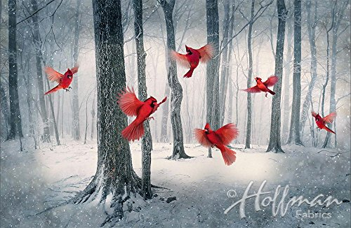 Cardinal / Snowy Forest Fabric Panel - Call of the Wild Digital Print - 27