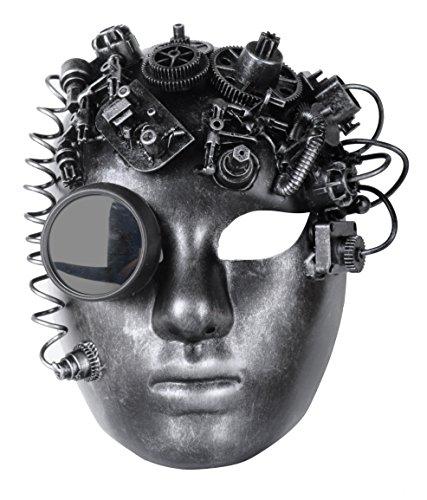 Arsimus Steampunk Victorian BlackSmith Bauta Full Face Masquerade Mask Rave (Silver) (Victorian Face Masks)