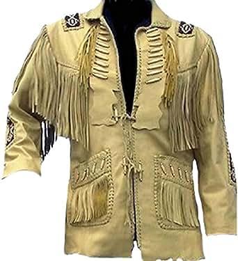 SRHides Men's Cowboy Original Leather Jacket, Beaded, Bones & Fringes Cow Beige X-Small
