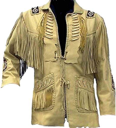 coolhides Men's Big Cowboy Original Leather Jacket, Beaded, Bones & Fringes Cow Beige 5X-Large (Bone Fringe Jacket)