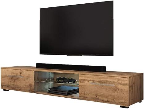 Selsey SYVIS - Mueble TV con LED/Mesa TV Moderna/Mueble para Salón Comedor / 140 cm (Marrón Dorado): Amazon.es: Electrónica
