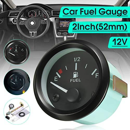 (2'' Inch 52mm Car Universal Fuel Level Gauge Meter + Fuel Sensor E-1/2-F Pointer, SMOXX Car Accessories Replacement Part, Pro Premium Easy Install)