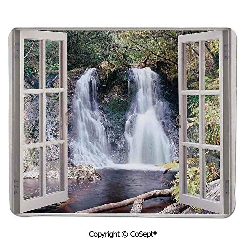 Non-Slip Rubber Base Mousepad,Little Waterfall Nestled in The National Park Panoramic Fresh Environment River Scenery,for Laptop,Computer & PC (15.74