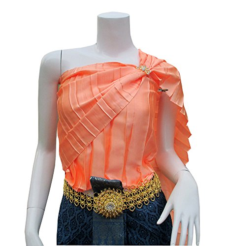 Full Funk Sabaii Sash Big Pleet Theater or Wedding Costume Outfit Light Thai Style, Width 14 Inch,Length 114 Inch, Coral Pink by Full Funk