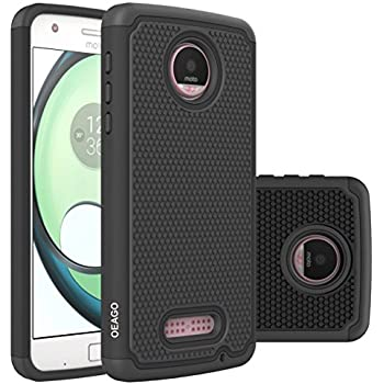 Motorola Moto Z Play Case, Moto Z Play Droid Case OEAGO [Shock Proof] Hybrid Dual Layer Rubber Plastic Impact Defender Rugged Slim Hard Case Cover Shell for Moto Z Play / Moto Z Play Droid - Black