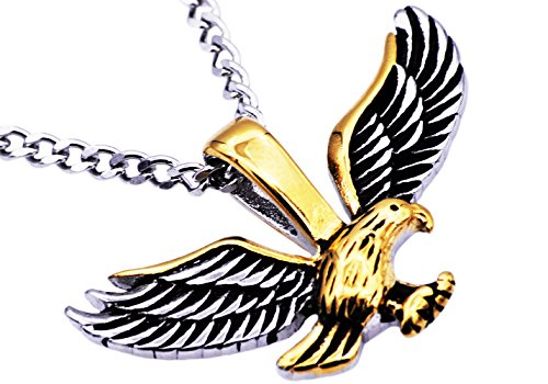 - Blackjack Jewelry Mens Gold Plated Stainless Steel Eagle Pendant