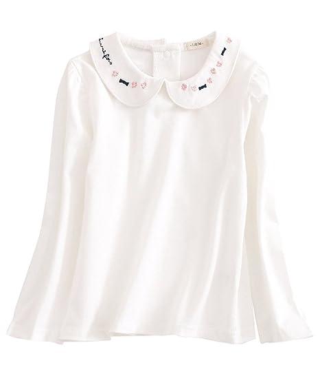 0e1835aeb3c5 Amazon.com  ASHERANGEL Girls  Solid Long Sleeve Peter Pan Collar ...