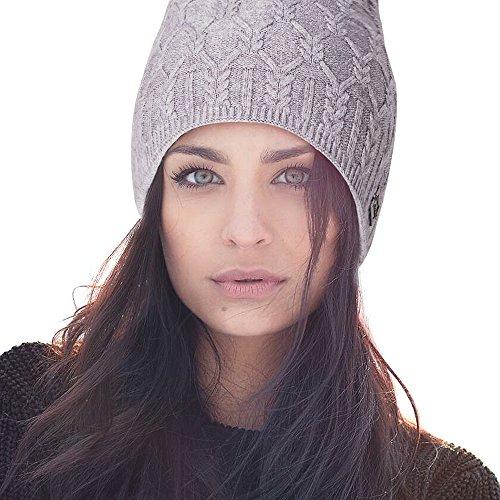 Diamond Knit Hat (LADYBRO Winter Hats For Women Slouchy Beanie Womens Skull Knit Caps For Ladies Hat (Grey-Diamond Knit))