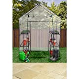 Garden Mile Large Portable Walk In Greenhouse Metal Frame With Double Shelves PVC Plastic Cover Outdoor Garden Grow House Propagator