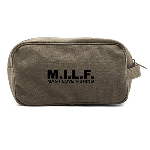 MILF man I love fishing Text Canvas Shower Kit Travel Toiletry Bag Case in Olive & Black by Army Force Gear