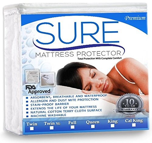 Fantastic Deal! SURE Premium 100% Waterproof Mattress Protector - Hypoallergenic- Multiple Sizes 10 ...