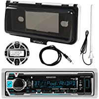 Kenwood Marine Receiver, Kenwood Wired Remote, Enrock Marine Rubber Radio Antenna , Enrock Marine Single Din Dash Protector For Boat Receivers, Enrock Marine Antenna 22