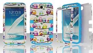 Samsung Note 2 n7100 Hybrid (Hard Plastic + Silicon Gel) Case Cover Snap-On Cute Owls on Branch / Blue Gel