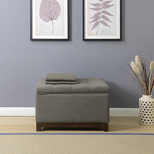 Belleze Storage Ottoman Linen Bench Large Living Room Footrest Seat Tufted Footstool (Charcoal Gray) (Bronze Bedding Ensemble)
