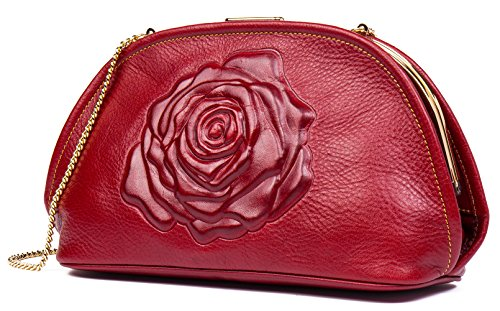 Malirona Floral Leather Fashion Women Evening Clutch Purses Top-handle Handbags (Red) by Malirona