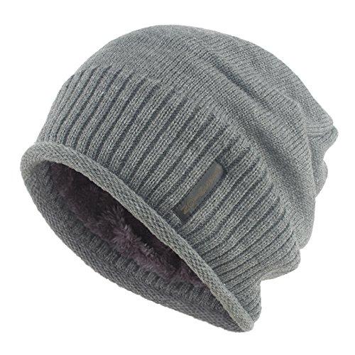 Janey&Rubbins Winter Slouchy Baggy Solid Knit Beanie Hat Fur Lined Crochet Skull Ski Cap (Gray)