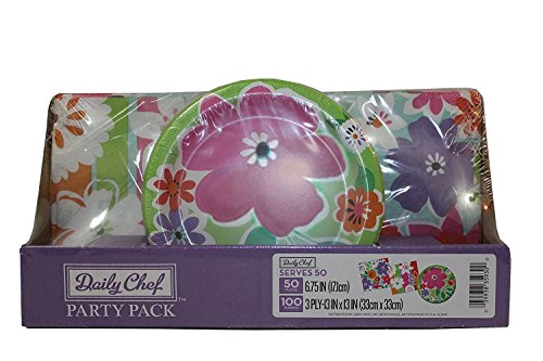 Daily Chef Floral Cutouts Party Pack. A Set of Disposable Performa Paper Plates and Thick 3 Ply Quality Luncheon Napkins with Elegant Flower Design. Perfect Tableware for Indoor and Outdoor Parties.