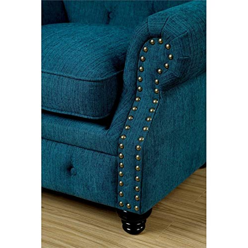 Furniture of America Villa Traditional Tufted Fabric Sofa in Teal