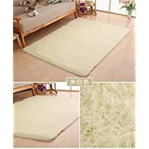 Ultra Soft 4.5cm Thicken Fur Shag Area Rugs Indoor Morden Super Soft Solid Living Room Bedroom Sitting Room Washable Area Rug and Carpets,40x60cm(Off White)
