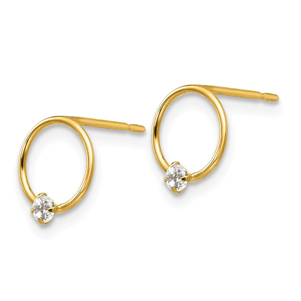 14k Yellow Gold Madi K CZ Childrens Circle Post Earrings