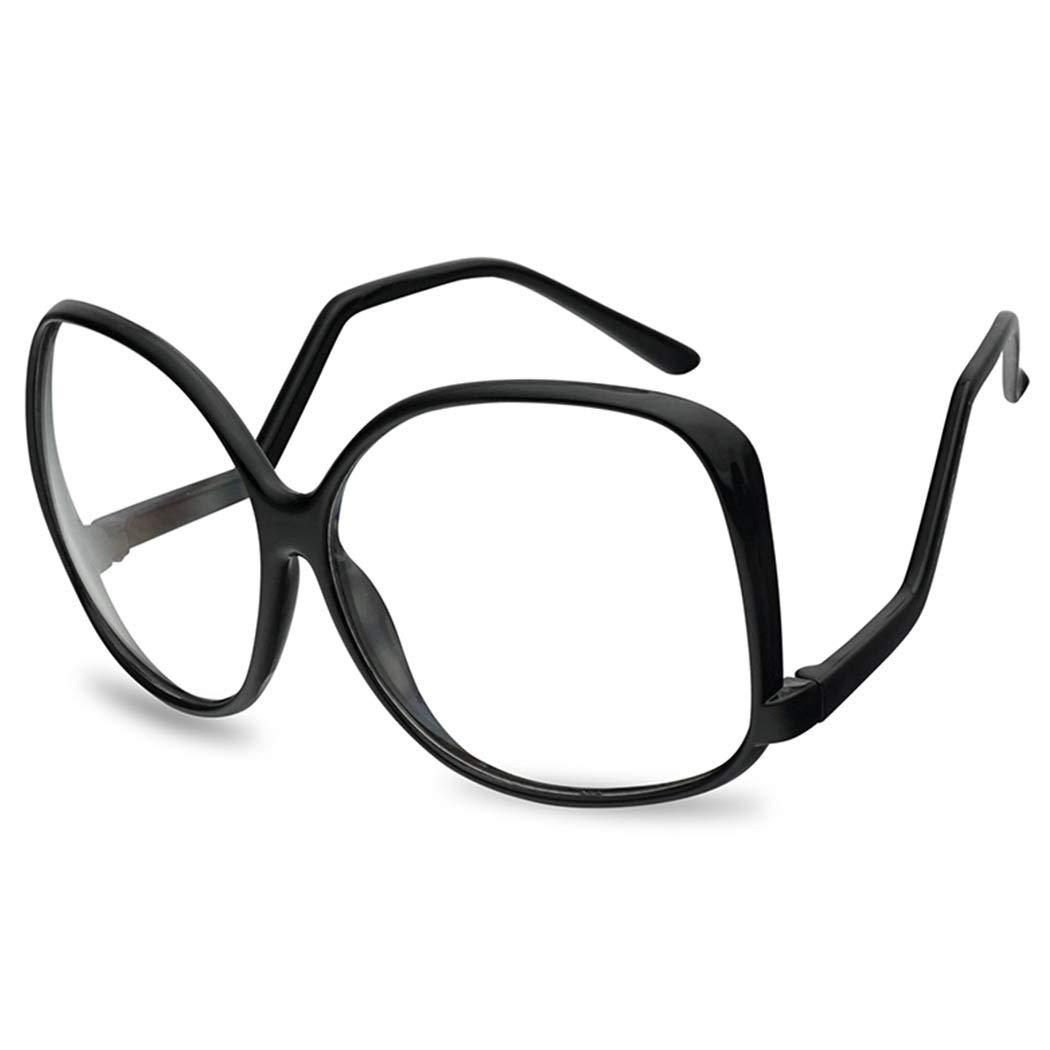 Oversize Vintage 1980's The Golden Girls Inspired Black Clear Lens Eye Glasses (Black Frame | Clear) by SunglassUP