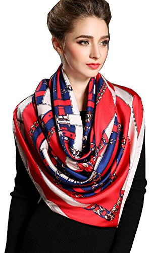 Spring Air Women's 100% Silk Large Square Scarf 55.1X55.1 Inch, Great Gift for Women's Day (Pattern Scarf Rib)