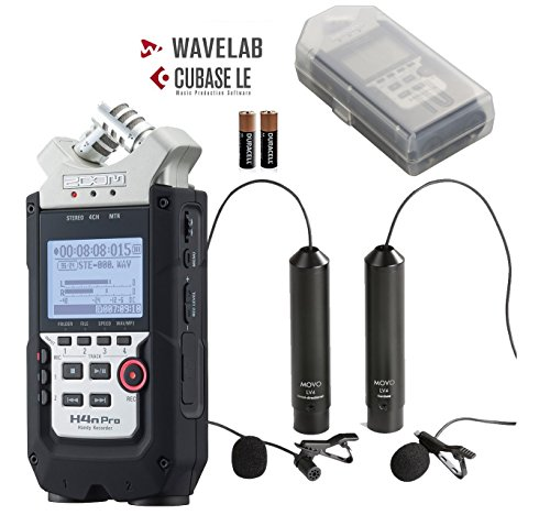 Zoom H4n PRO 4-Channel Handy Recorder Bundle with Movo Omnidirectional and Cardioid XLR Lavalier Microphones Zoom H4n Recorder