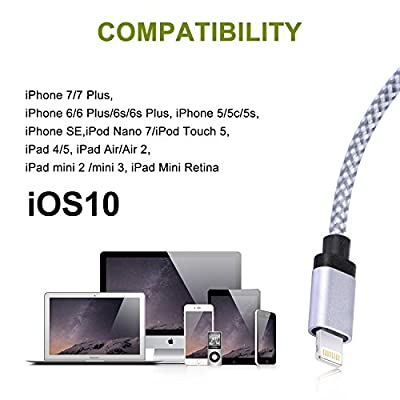 Cablex 3pcs 3FT 6FT 10FT Nylon Braided Charging Cable Cord 8-Pin Lightning to USB Cable Charger