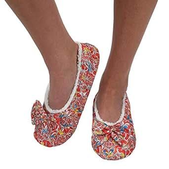 Snoozies Womens Brocade Shine Ballerina Comfort Split Slipper Socks - Red, Large