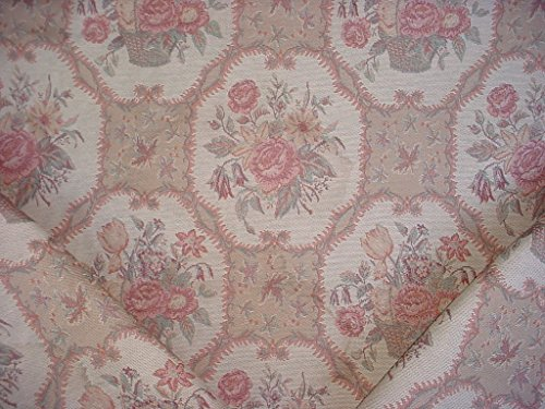 292RT14 - Petal Pink / Mint Green / Beige / Old Rose / Mocha Brown Basket Floral Bouquet Scroll Tapestry Designer Upholstery Drapery Fabric - By the Yard (Kravet Floral Tapestry Upholstery Fabric)