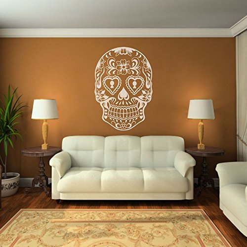 Vinyl Sugar Skull Wall Decal Skull Wall Sticker Mexican Wall Decor Wall Graphic Wall Mural Home Art Decor ()