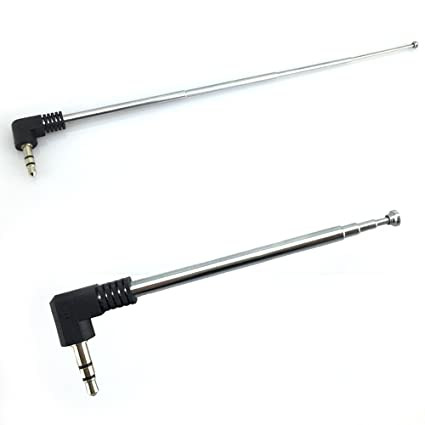 VizGiz 2 Pack 3 5mm Antenna FM AM Radio Telescopic 4 Sections Telescoping  Antenna 1/8 inch Jack Plug Connector Retractable 8 5cm-25cm for Mobile Cell