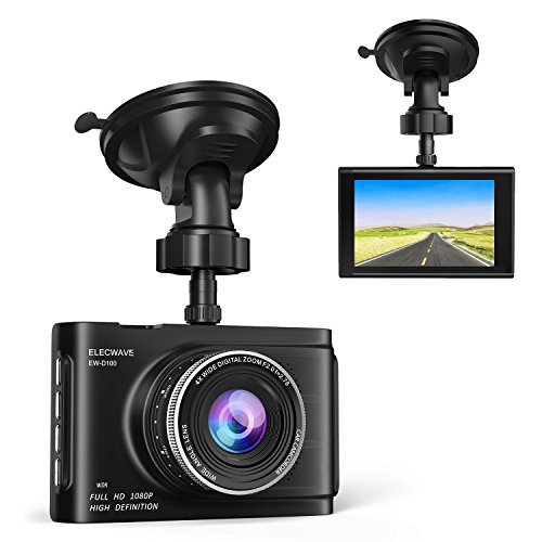 Dash Cam, Elecwave Full HD 1080P Dashboard Camera for Cars, Car Dash Cam Driving Recorder 3″ LCD with Super Night Vision G-Sensor Loop Recording