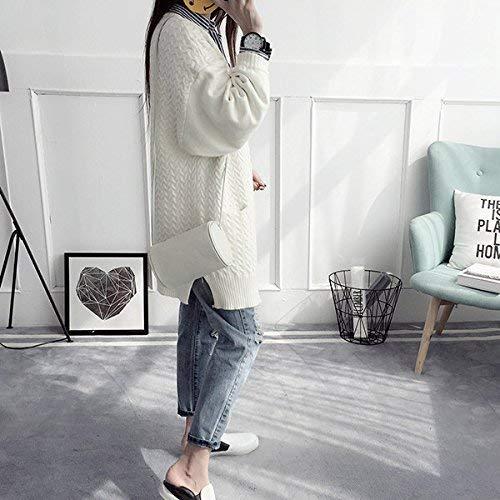 A Baggy Anteriori Saoye Bianca Giacca Monocromo Giovane Maglia Giubotto Fashion Di Alta Lunga Elegante Outerwear Pullover Qualità Libero Manica Tasche Autunno Donna Tempo FFtf0