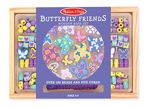 Melissa & Doug Butterfly Friends Wooden Bead Set With 120+ Beads for Jewelry-Making