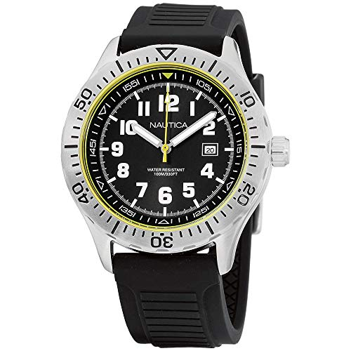 - Nautica Men's 'NSR 105' Quartz Stainless Steel and Silicone Casual Watch, Color:Black (Model: NAD12538G)