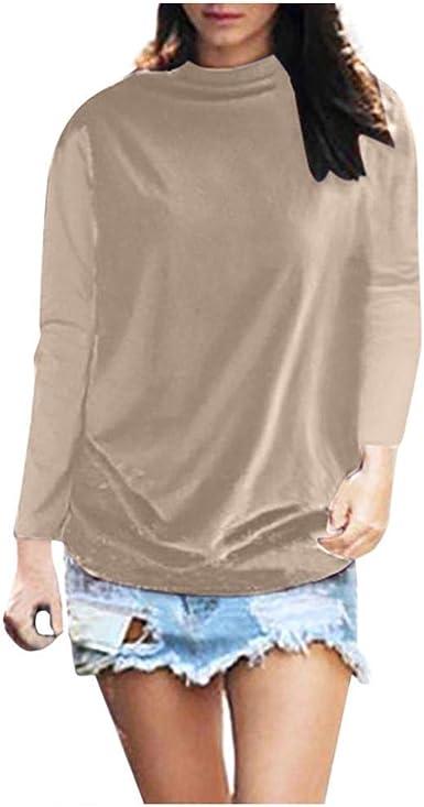 VJGOAL Camisetas de algodón de Manga Larga de Cuello Alto para Mujer Moda Casual Color sólido Tallas Grandes Blusas Tops: Amazon.es: Ropa y accesorios