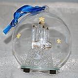 StealStreet HDA-142 Ss-Ug-Hda-142, 4' Diameter Spaceship Light Up Glass Ornament, clear & Blue